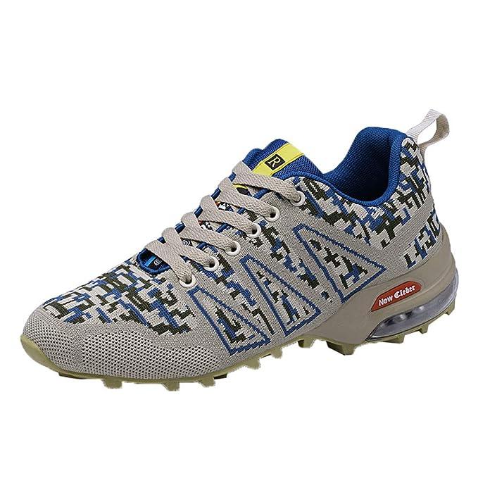 JiaMeng Zapatillas Deporte Hombre Zapatos de Entrenamiento para Hombre de montañismo para Exteriores Zapatillas con Cordones Antideslizantes y ...
