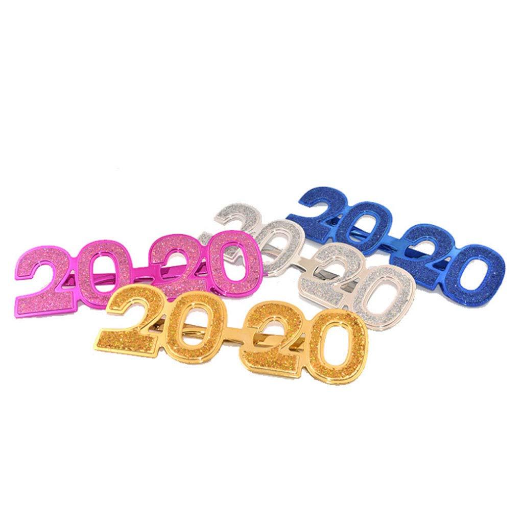 Xiuinserty 2020 Brille Silvester Party Brille Witziger Glitzer Foto Requisite Geschenk gold