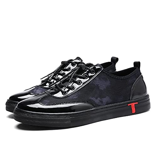 Chaussures de Sport pour Hommes Talon Plat Lace Up Casual Running Sneaker,Chaussures de Cricket (Color : Black White, Size : 40EU)