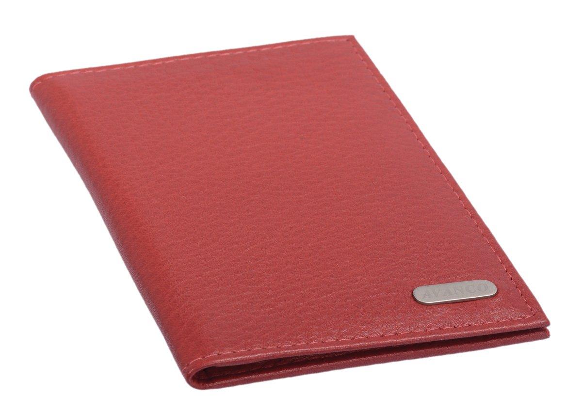 cuir v/éritable cherry 12x9x0,5cm Porte-cartes AVANCO
