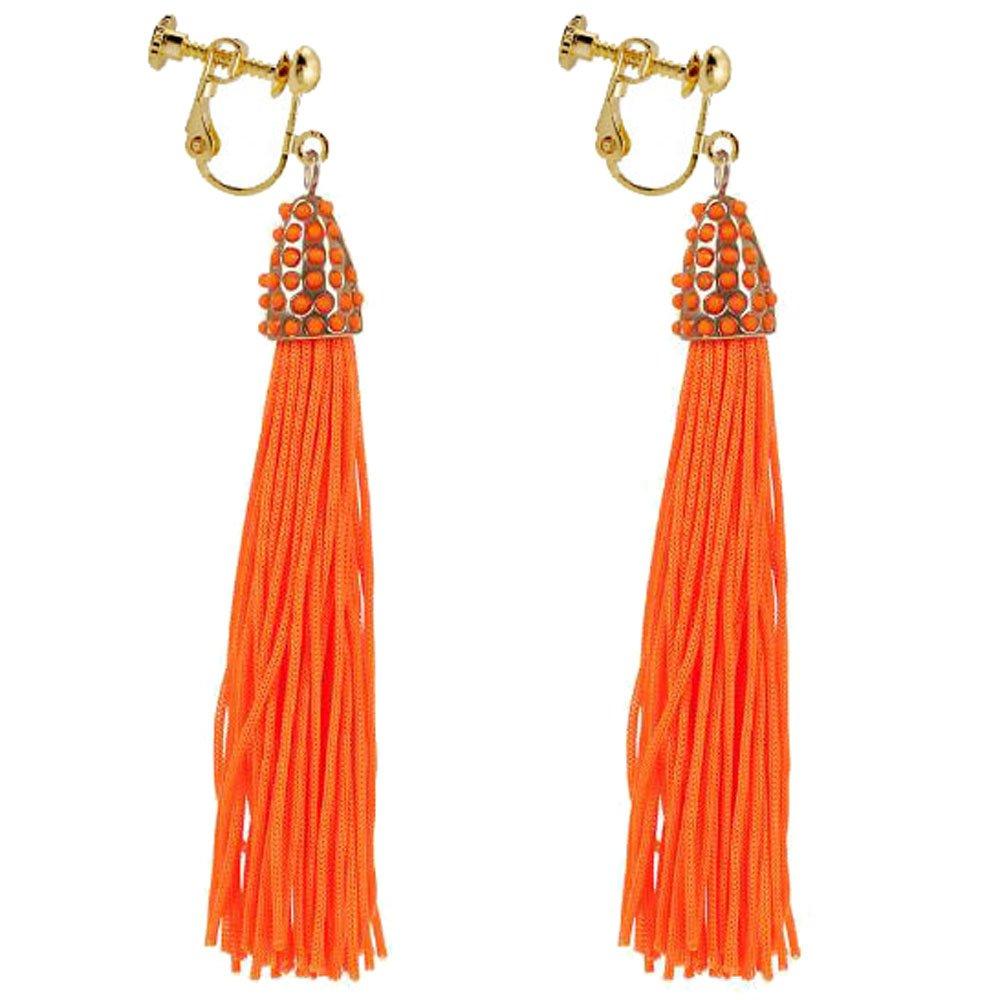 Fashion Native American Style Long Dangle Kont Rope Clip on Earrings for Women Prom Orange Tassel Beaded