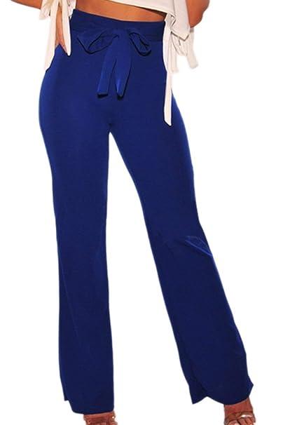 Mujer Golpear Los Pantalones Elegante Moda Casual Primavera Pantalon Largos  Otoño Color Sólido Cintura Alta con Cinturón Regalos Pantalones De Tiempo  Libre ... 763ee2c1e3f5