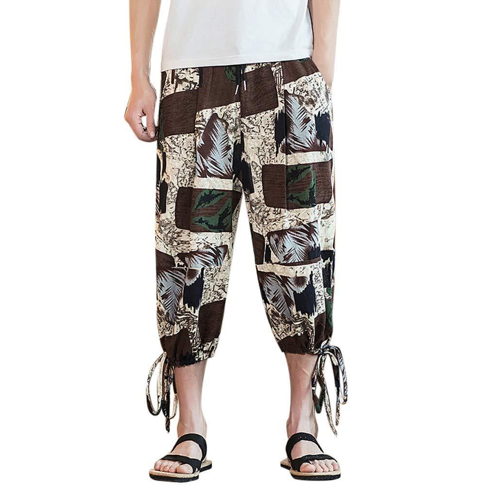 Ratoop Fashion Mens Vintage Cotton Blends Linen Drop Crotch Jogging Harem Pants