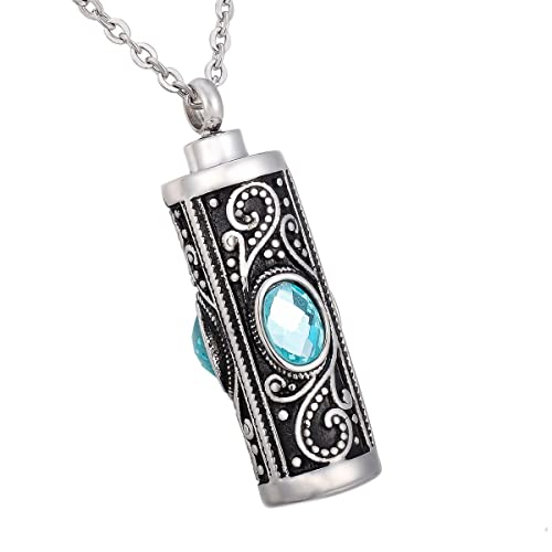 633f5871d7dd8 HooAMI Crystal Cremation Urn Necklace for Ashes Keepsake Stainless Steel  Memorial Pendant