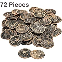 Pack Of 72 Pirate Coins Plastic 1 3/8 Inches – Pirate Doubloons Chest Fillers – For Kids Great Party Favors, Bag Stuffers, Fun, Toy, Gift, Prize, Piñata Fillers, Pirate Themed Party - By Kidsco