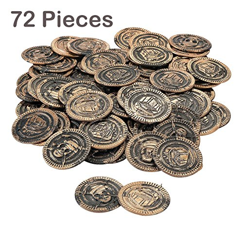 Child Silver Coin (Pack Of 72 Pirate Coins Plastic 1 3/8 Inches – Pirate Doubloons Chest Fillers – For Kids Great Party Favors, Bag Stuffers, Fun, Toy, Gift, Prize, Piñata Fillers, Pirate Themed Party - By Kidsco)