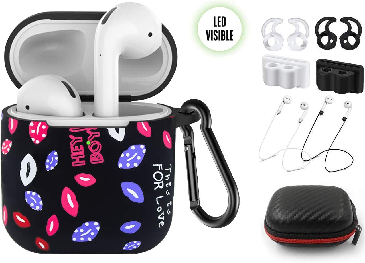 Compatible with Air Pods Cover Earpods Case,Five Star Online 9 in 1 Air-Pods Accessories Fashion Black Lips Design Soft Silicone with Carabiner/Ear Hook/Holder/Straps/Carrying Box for Air pods 1/2