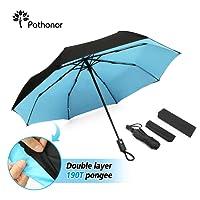 Pathonor Parapluie Pliant Ouverture Automatique Résistant au Vent Parapluie de Poche Parapluie Golf Double Toile Grand Parapluie Imperméable de Voyage Anti-UV Anti Tempête