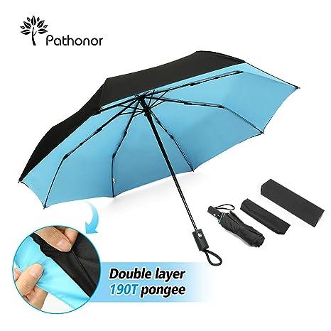Paraguas Plegable Antiviento Grande de Apertura Automática Portátil Durable con Tira Reflectora de Luz Protección SPF