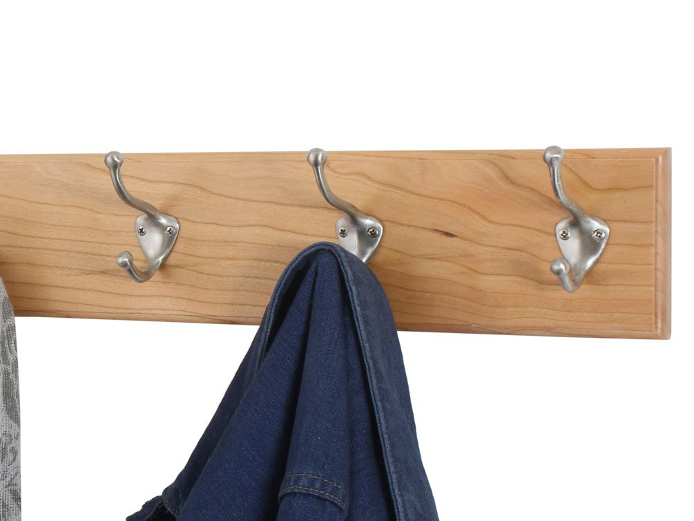 Solid Cherry Wall Mounted Coat Rack With Satin Nickel Wall Coat Cool Nickel Coat Rack