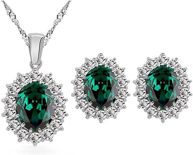 Sterling Silber Anhänger Synthetisch Smaragd Weiß Cubic Zirkonia Oval Cluster