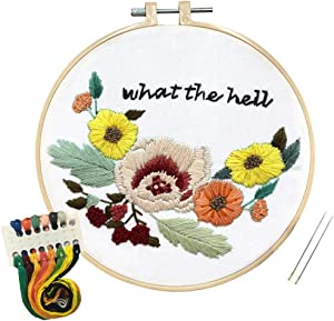 Louise Maelys Flower Embroidery Kit for Beginner Adults DIY Embroidery Starter Kit with Funny Sayings Cross Stitch Needlepoint Kits for Gifts