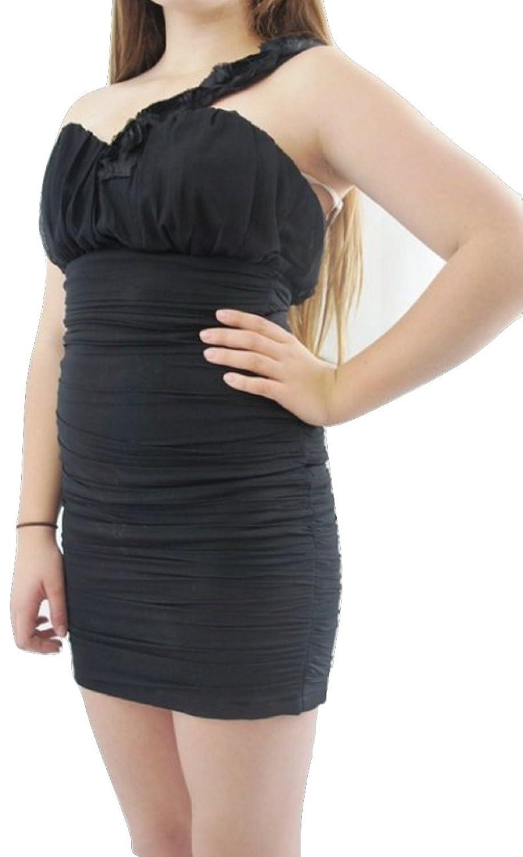 TopshopDamen Kleid, Einfarbig Schwarz Black Lace