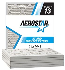 Aerostar 14x14x1 MERV 13 Pleated Air Filter, Made in the USA, 6-Pack