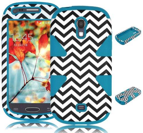 Bastex Heavy Duty Hybrid Dynamic Case for Samsung Galaxy Light T399 - Sky Blue Silicone / Chevron Hard Shell (Samsung Galaxy Light Phone Case compare prices)