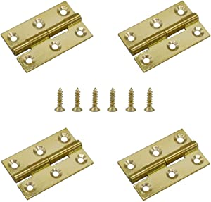 4 PCS Brass Folding Butt Hinges Home Furniture Hardware Door Hinges for Cabinet Gate Closet Door Jewelry Box with 24 Pieces Screws (50mm/ 2inch)