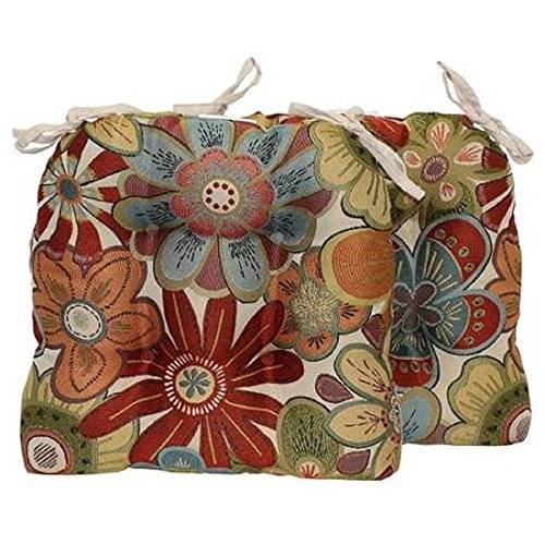 Better Homes and Gardens Floral Chair Pad with Ties, Set of 2 (Brentwood Cushions Chair)