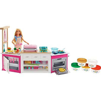 Barbie Kitchen Playset with Doll, Lights & Sounds, Food Molds, 5 Dough Colors and 20+ Accessories: Toys & Games