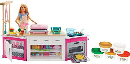 Amazon Com Barbie Kitchen Playset With Doll Lights Sounds