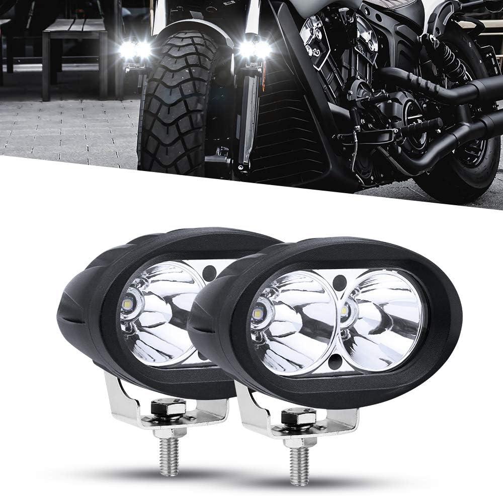 Faros Auxiliares de Moto,20W Faros Antiniebla Moto LED Foco Luces de trabajo Luz delantera auxiliar 12V/24V Blanco para Motocicletas Bicicletas Coches Camiones Barco
