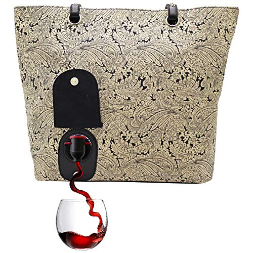 PortoVino City Wine Tote (Paisley) - Fashionable Wine Purse with Hidden, Insulated Compartment, Holds 2 bottles of Wine! - Paisley Bag Park Bottle