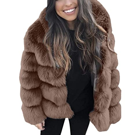 45e2459e88431 Image Unavailable. Image not available for. Color  Hunzed women coat Warm  Faux Fur Short Comfortable Coat Autumn and Winter Hooded Jacket ...