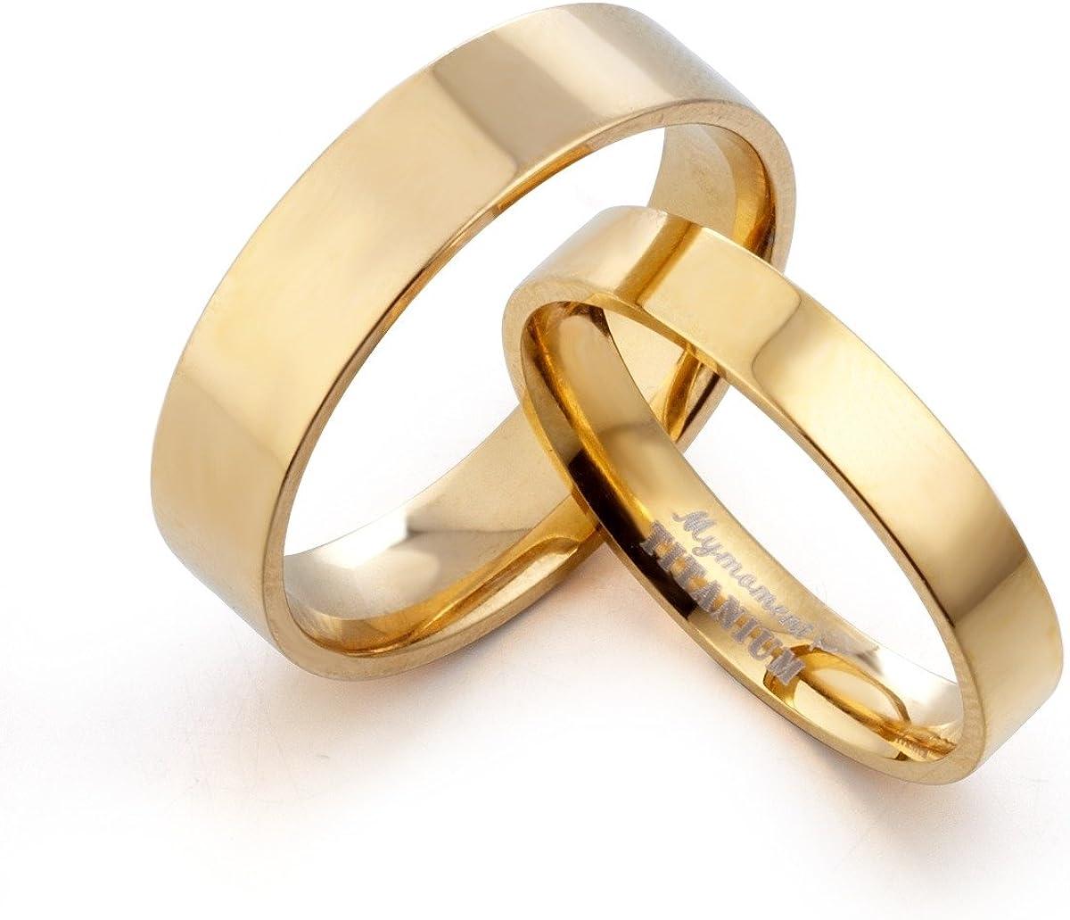 8 Women Ring Size 11 Width 6mm /& 4mm Men Ring Size Gemini Groom /& Bride Matching 18K Gold Filled Anniversary Wedding Titanium Rings Set