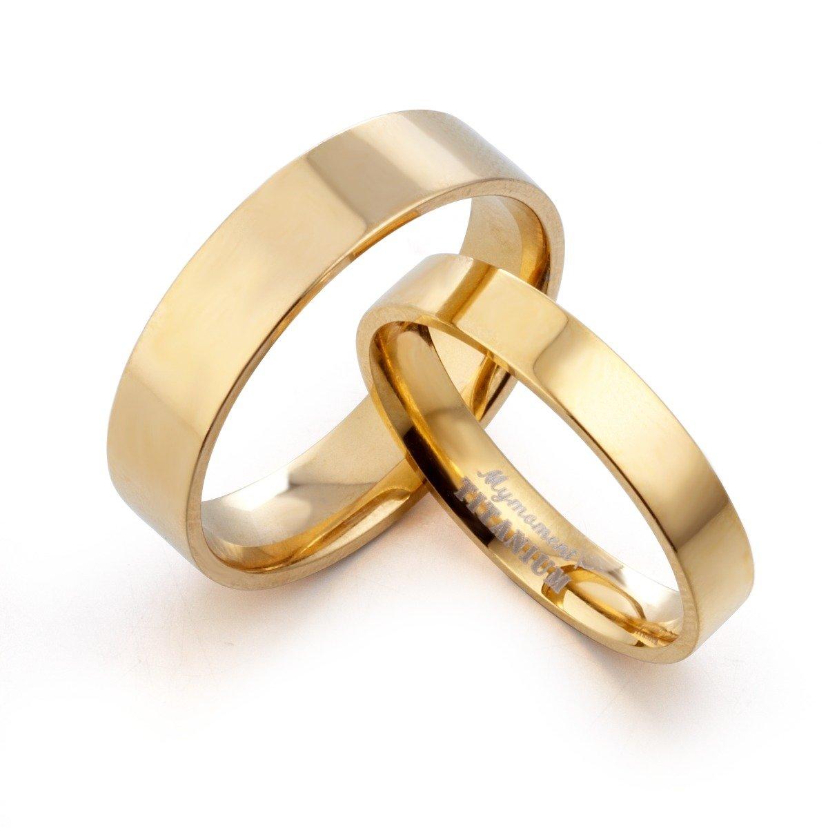 Gemini Groom /& Bride Matching 18K Gold Filled Anniversary Wedding Titanium Rings Set Width 6mm /& 4mm Men Ring Size 14 Women Ring Size 8