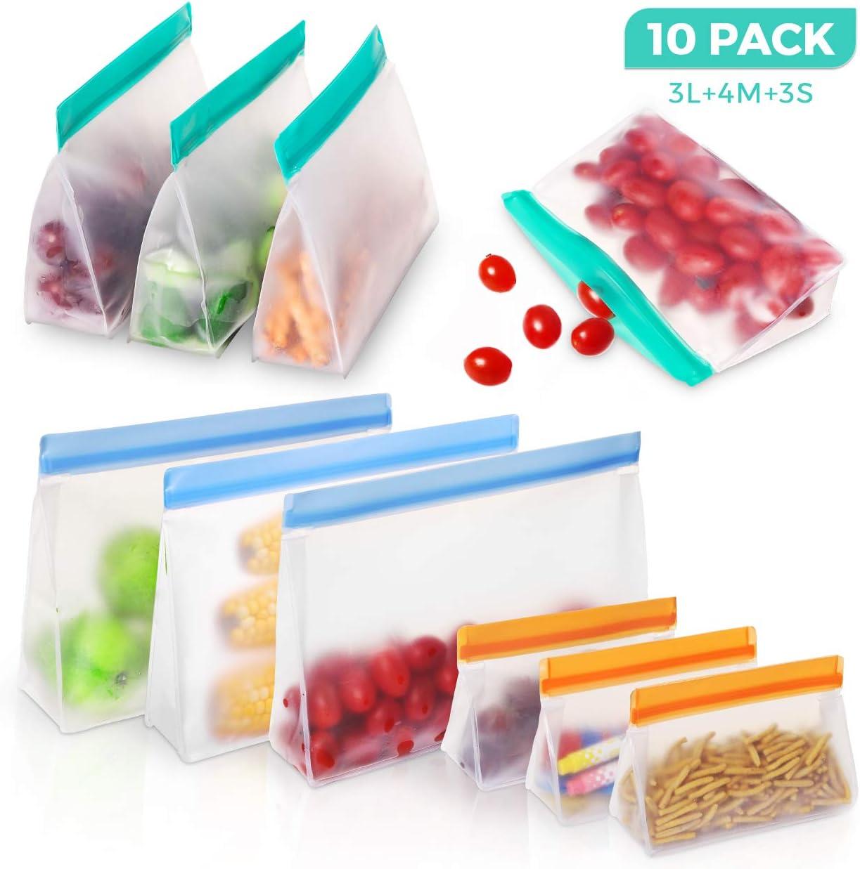 BHY Bolsas Silicona Reutilizables 10Pcs Bolsas Reutilizables de Almacenamiento de Alimentos PEVA Bolsas Zip para Almacenar y Congelar Comida Tanto Sólida cómo Líquida