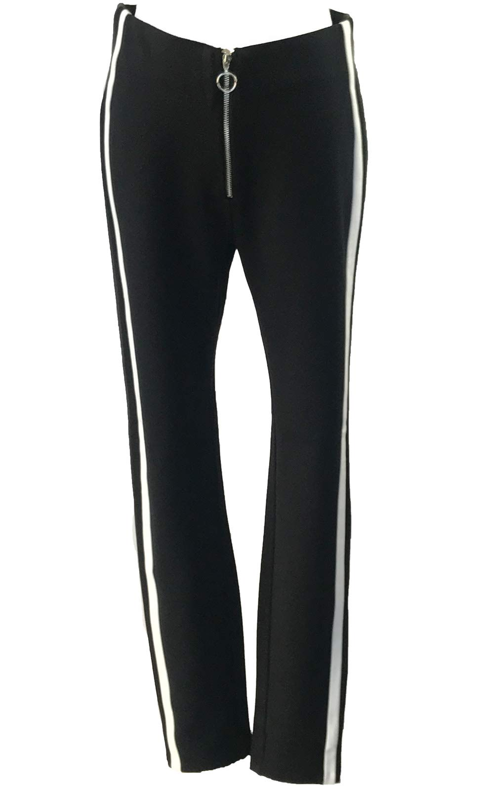 Blend 4 Thee Women Elastic Legging Pants, Front PU Shaped Cutting (Black Zipper Front/Stripes at Sides, M)