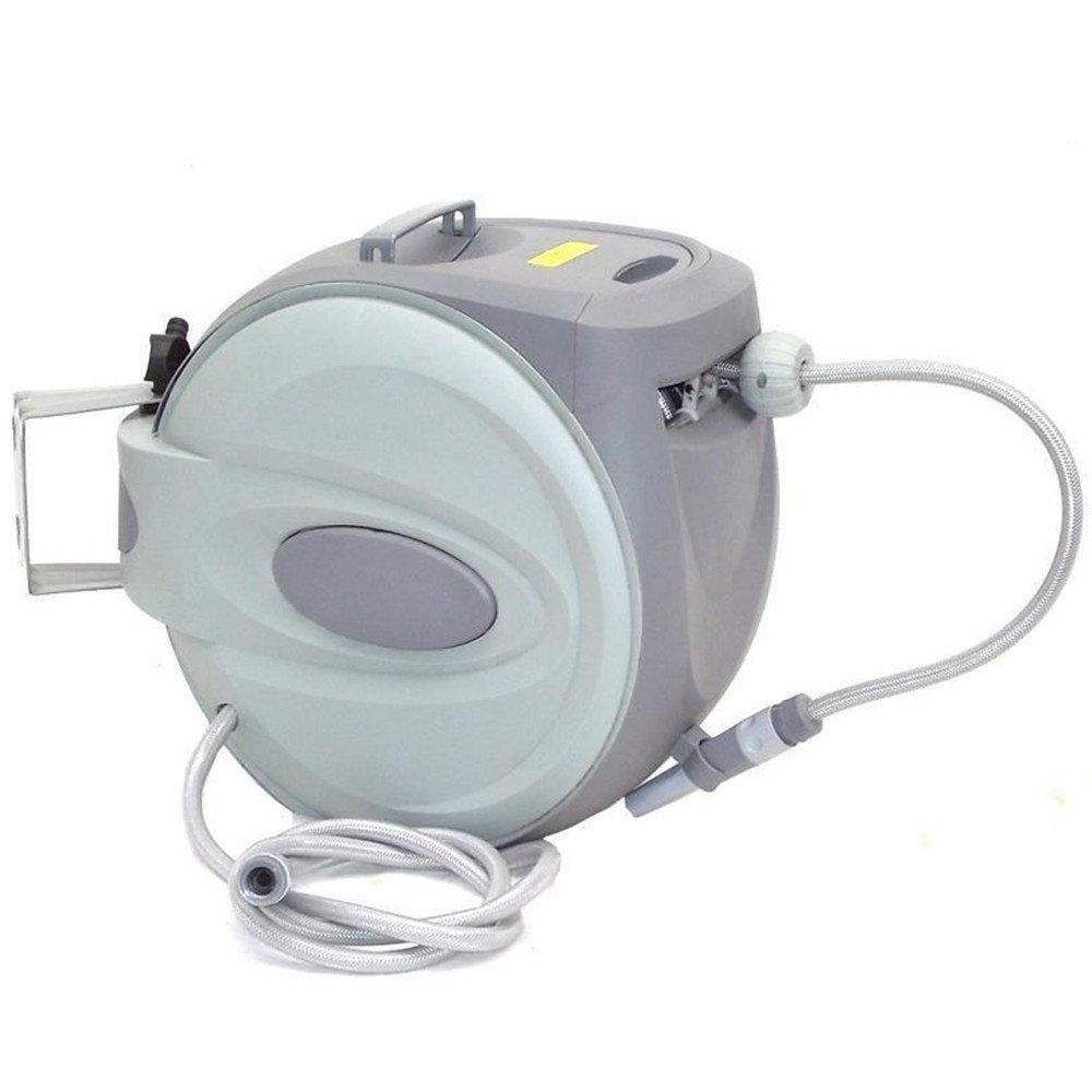 Automatischer Schlauchaufroller, CRAVOG Schwenkbare Schlauchtrommel inclusive Wasserschlauch mit ½ Zoll Anschluss für Garten (30m)