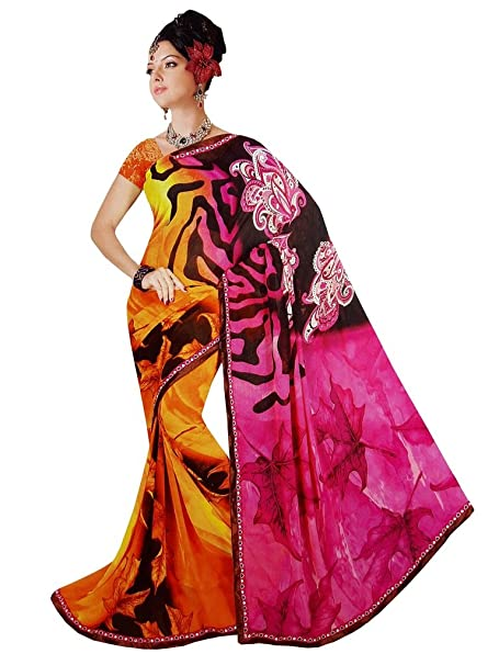 6ad284923 Lolydoll Ladies New   Latest Collection For Women s Printed Pink   Orange  Color Bollywood Design Chiffon