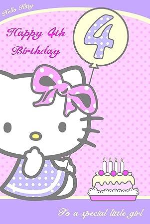 Hello Kitty Tarjeta de cumpleaños cuarto cumpleaños (Inglés ...