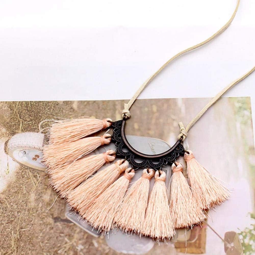 KLKL Cadena de Cuerda Larga de Cuero Vintage Borla Colgante Collar Gargantilla Mujeres suéter Cadena Ropa Accesorios