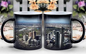 Amymami Personalized Gifts Heat Changing Magic Coffee Mug - Buildings Eureka Tower Melbourne Skyscraper City