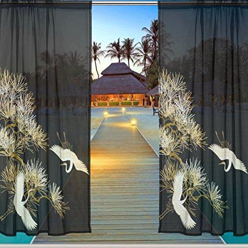 ALAZA Window Sheer Curtain Panels,Christmas Decoration Art Japanese Style Floral Black Crane,Door Window Gauze Curtains Living Room Bedroom Kid Office Window Curtain 55x84inch Two Panels Set