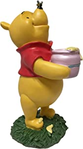 Winnie The Pooh with Bees Trying to get to his Hunny Pot, Large 10.5 Inch Tall Statue, Hand Painted, Official Disney Licensed Product