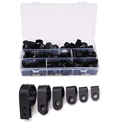 Cable Nylon Black Plastic P Clips for Wire Conduit Assorted Box 200 Pieces
