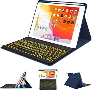 iPad Case Keyboard 8th 7th Generation for iPad 10.2 2020/2019 - Pro 10.5 Air 3rd Gen 2019/2017-7 Color Backlit Wireless Detachable BT Keyboard - Built-in Pencil Holder Cover for 10.2