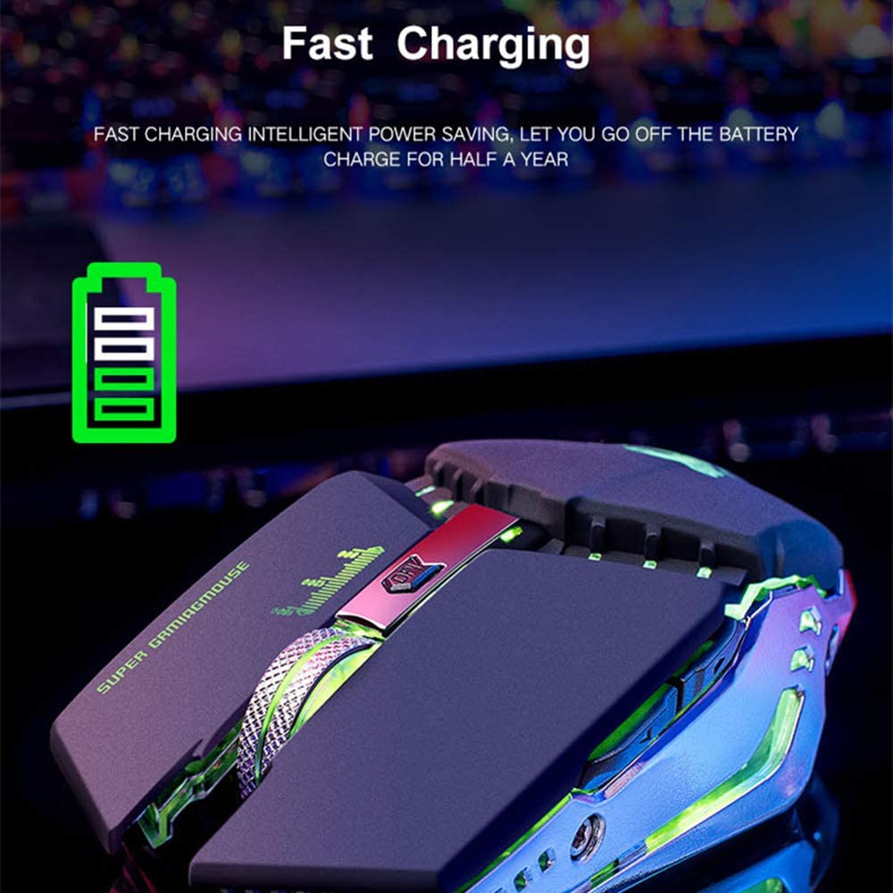 Wireless Gaming Mouse Power Saving Mode for Laptop//PC//Notebook Rechargeable Computer Gaming Mouse Unique Silent Click