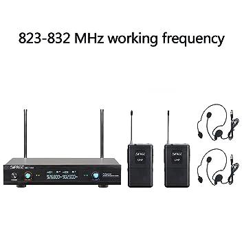 Auriculares Micrófono Inalámbrico UHF Canales Duales Sistema de Micrófono con 1 Transmisor de Cuerpo 2 Trigo