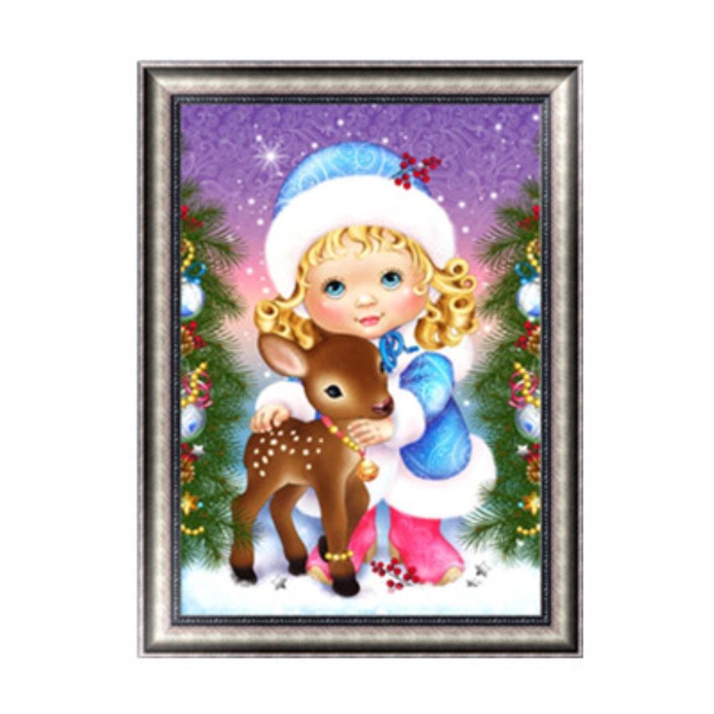 Kofun 5D DIY Diamond Painting, 5D DIY Painting Paint By Numbers Diamonds Embroidery Painting Cross Stitch Kit DIY Home Decor Christmas Girl 30x40 cm
