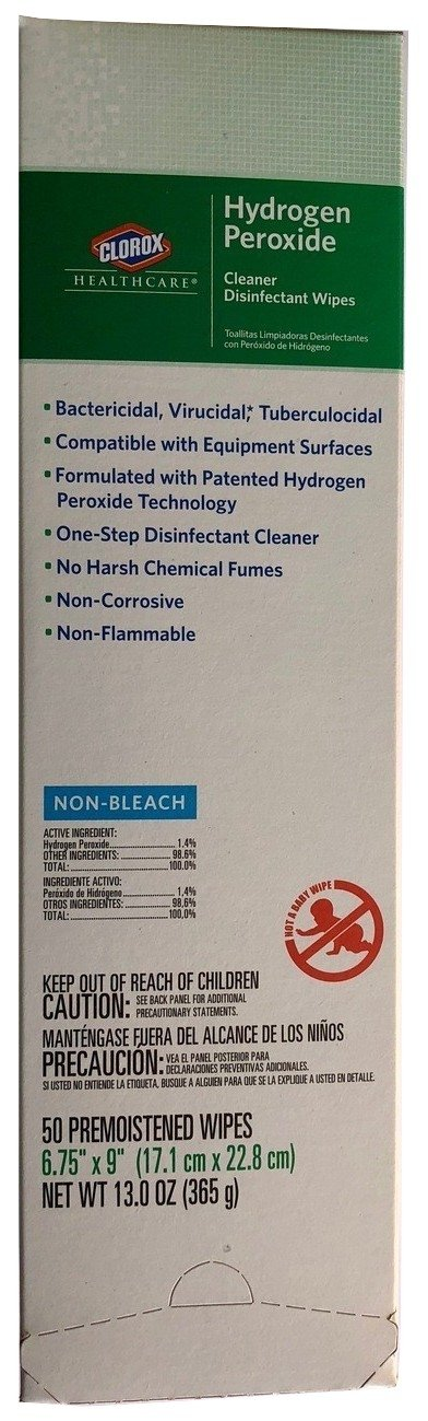 Clorox Healthcare Hydrogen Peroxide Cleaner Disinfectant Pre-moistened Wipes (50 Count) Plus Bonus Storage Bag by Clorox (Image #1)