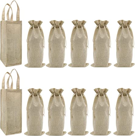 LONTG 10Pack Jute Wine Bags Burlap Bottle Gift Bags With Drawstring Single Wine Bottle Bag Bottle Carrier Bags Holder Cover Wrap Packing Bag Pouch For Birthday Wedding Christmas Party Favors