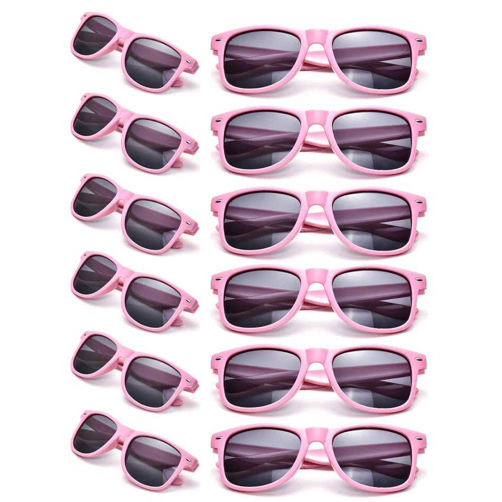 12 Pack Wholesales 80's Retro Neon Party Sunglasses for Party Favors (pink)