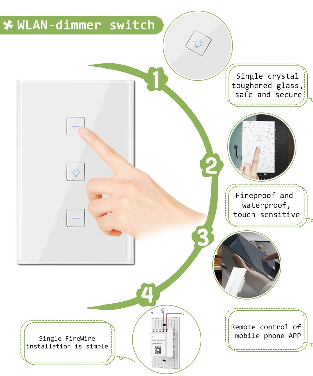 Smart Wifi Dimmer Switch Gamefun Wireless Light Work With Firewire Wiring Diagram Alexa Google Home Ifttt 3 In 1 Touch Panel Remote Control Timer Function No Hub Required