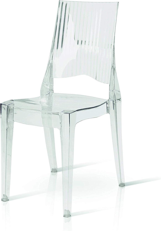 Set 6 Sedie in policarbonato Fashion Commerce FC6695 trasparenti