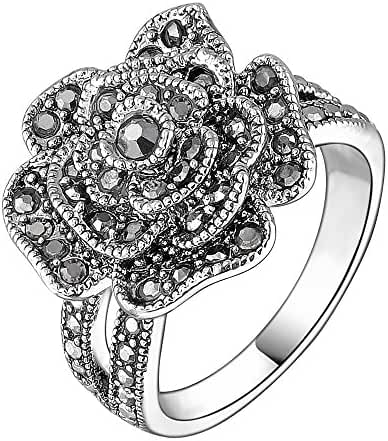 Mytys Retro Vintage 18k White Gold Plated Black Marcasite Rose Flower Crystal Rings