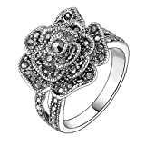 Mytys Retro Vintage 18k White Gold Plated Black Marcasite Flower Crystal Ring(8)