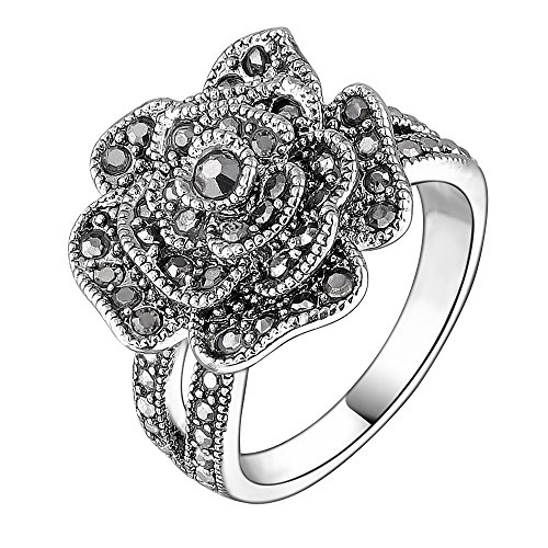 Mytys Retro Vintage 18k White Gold Plated Black Marcasite Flower Crystal Ring(6)